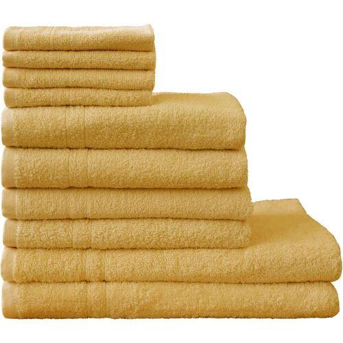 Dyckhoff Handtuch Set Kristall, mit feiner Bordüre 10 tlg. gelb Handtuch-Sets Handtücher Badetücher