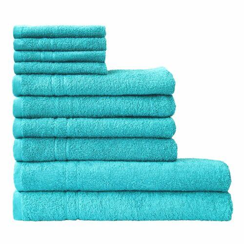 Dyckhoff Handtuch Set Kristall, mit feiner Bordüre 10 tlg. blau Handtuch-Sets Handtücher Badetücher