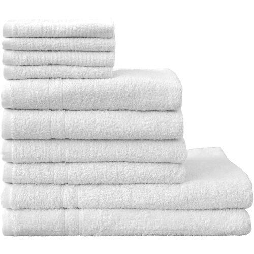 Dyckhoff Handtuch Set Kristall, mit feiner Bordüre 10 tlg. weiß Handtuch-Sets Handtücher Badetücher