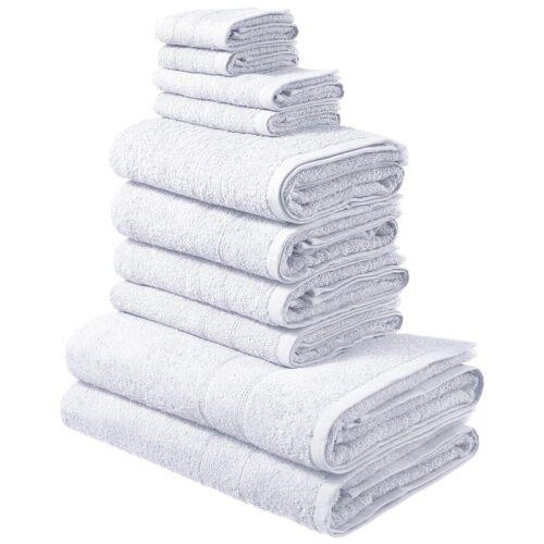 my home Handtuch Set Inga, mit feiner Bordüre 10 tlg. weiß Handtuch-Sets Handtücher Badetücher
