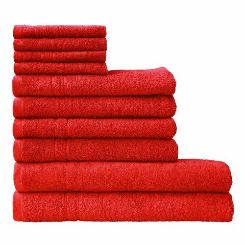 Dyckhoff Handtuch Set Kristall, mit feiner Bordüre 10 tlg. rot Handtuch-Sets Handtücher Badetücher