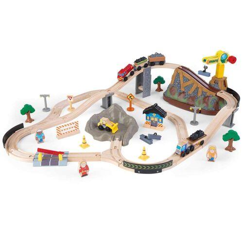 KidKraft Spielzeug-Eisenbahn Eisenbahnset Baustelle mit Aufbewahrungsbox Einheitsgröße bunt Kinder Ab 3-5 Jahren Altersempfehlung