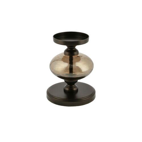 Kerzenständer ¦ braun ¦ Glas , Metall ¦ Maße (cm): H: 16,8  Ø: [12.5] Dekoration > Kerzen & Lichter > Kerzenständer - Möbel Kraft