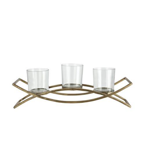 Teelichthalter ¦ gold ¦ Metall, Glas  ¦ Maße (cm): B: 37,5 H: 13,5 T: 9,5 Dekoration > Kerzen & Lichter > Kerzenständer - Möbel Kraft