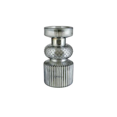 Kerzenständer ¦ grau ¦ Glas  ¦ Maße (cm): H: 22  Ø: [12.0] Dekoration > Kerzen & Lichter > Kerzenständer - Möbel Kraft
