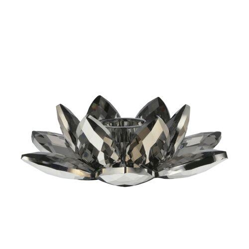 Kerzenhalter Kristall ¦ grau ¦ Glas  ¦ Maße (cm): B: 12,6 H: 4,5 T: 11,2 Dekoration > Kerzen & Lichter > Kerzenständer - Möbel Kraft