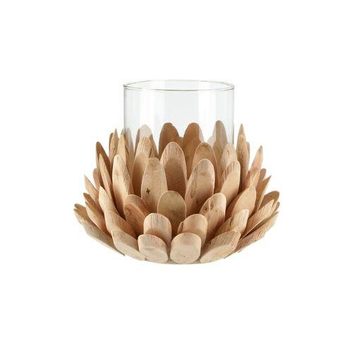 Windlicht Holzblume ¦ holzfarben ¦ Holz, Glas  ¦ Maße (cm): H: 19,5  Ø: [20.0] Geschenkideen > Geschenke zur Hochzeit - Möbel Kraft