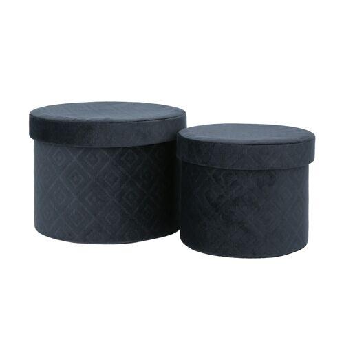 Aufbewahrungsbox, 2er-Set ¦ blau ¦ Samt, Karton ¦ Maße (cm): H: 16  Ø: [22.0] Aufbewahrung > Aufbewahrungsboxen - Möbel Kraft