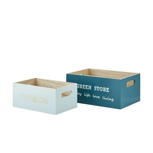 Aufbewahrungsbox, 2er-Set ¦ türkis/petrol ¦ MDF ¦ Maße (cm): B: 16 H: 11 Aufbewahrung > Aufbewahrungsboxen - Möbel Kraft