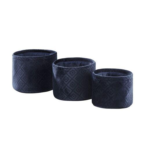 Aufbewahrungskörbe, 3er-Set ¦ blau ¦ Samt ¦ Maße (cm): H: 16  Ø: [22.0] Aufbewahrung > Körbe - Möbel Kraft
