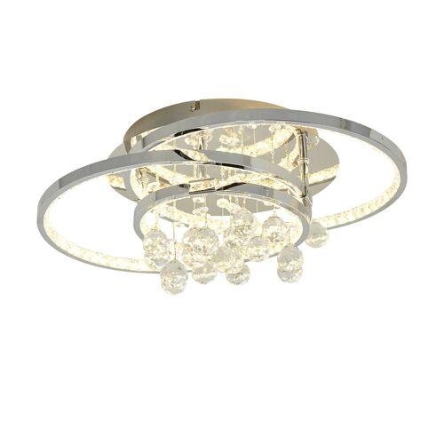 KHG LED-Kristalldeckenleuchte ¦ silber ¦ Maße (cm): B: 45 H: 20 T: 32 Lampen & Leuchten > Innenleuchten > Deckenlampen - Möbel Kraft