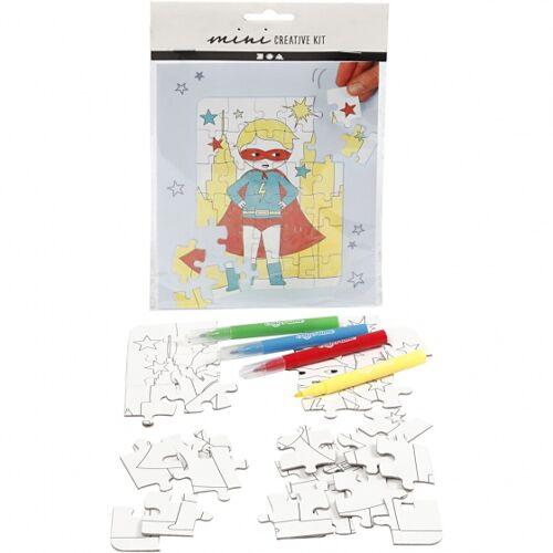 Creotime färben Sie Ihr eigenes Puzzle Superheld 15x18 cm 5 teilig