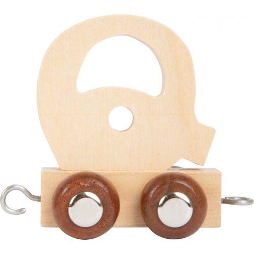 Small Foot eisenbahnwagen Buchstabe Q Holz beige 5 x 3,5 x 6 cm