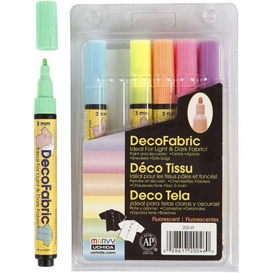 Deco textilschreiber Pastell 3mm 6 Stück