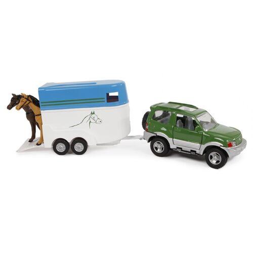 2-Play 2 Play auto mit Pferdeanhänger mit Druckguss Rückzug 25 cm grün