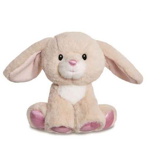 Aurora stofftier Kaninchen glitzy junior 20 cm Plüsch braun/rosa