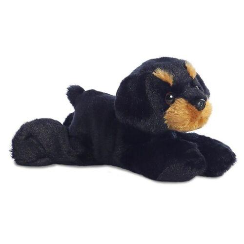 Aurora stofftier Mini Flopsie Rottweiler 20,5 cm Plüsch schwarz