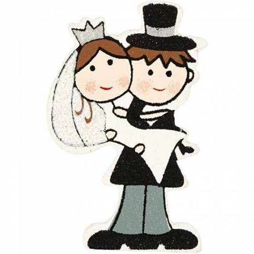 Happy Moments holz Brautpaar 5 cm Set 30 Stück mehrfarbig