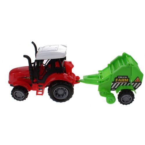 Gearbox Traktor mit Heuwagen 30 cm grün / rot