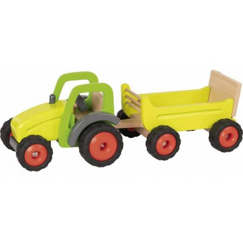 Goki traktor mit Anhänger 45 x 16 cm Holzgelb 2 teilig