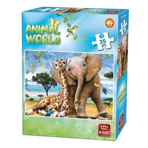King puzzle Tierwelt Giraffe und Elefant 35 Teile