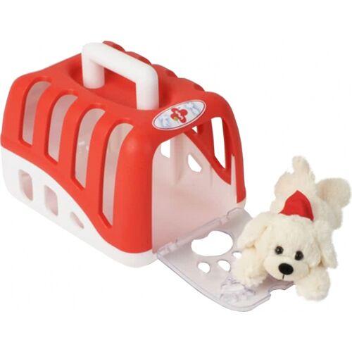 Klein Tierkäfigkäfig mit Plüschhund rot / weiß 23,5 cm