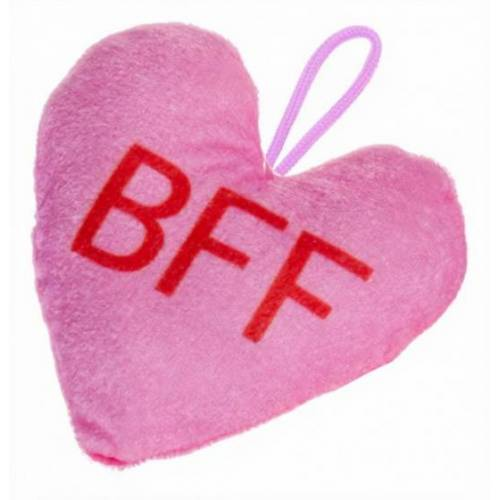 LG Imports stofftier Herz BFF 12 x 13 cm rosa