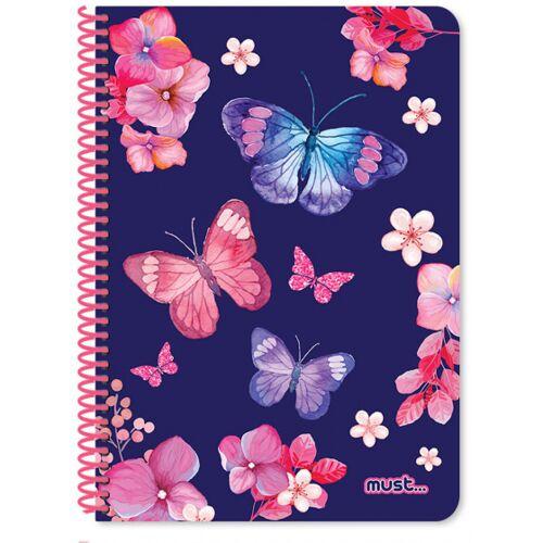 Must notizbuch Schmetterlinge Mädchen B5 Papier blau 120 Blatt