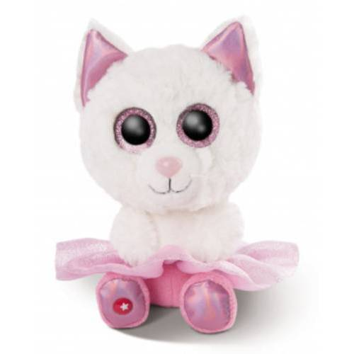 Nici stofftier Glubschis Katze junior 15 cm Plüsch weiß/rosa