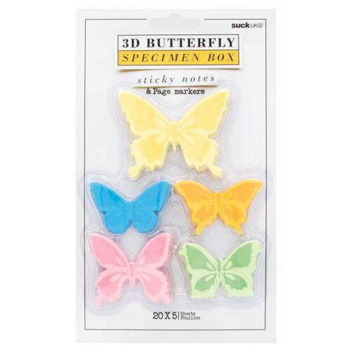 Suck UK memoblocks Schmetterling 3D 5,5 x 7 cm Papier 5 Stück