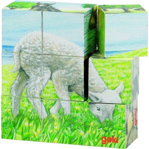 Goki Holzblock Puzzle Vieh