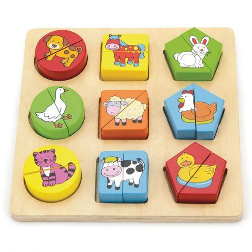 Viga Toys puzzle mit geometrischer Form 20 x 20 cm Holz 18 Teile
