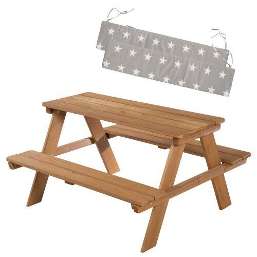 Roba Kindersitzgarnitur Outdoor + in teak mit Bankkissen Little Stars