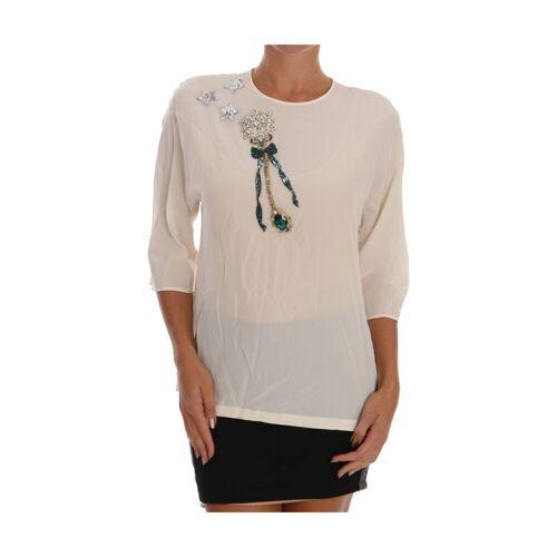 Dolce & Gabbana, Sizilien Kristallbluse Weiß, Damen, Größe: 42 IT 42 IT Weiß female