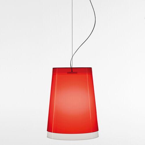 Pedrali L001S/AA Pendelleuchte, Außenschirm rot, Baldachin weiß