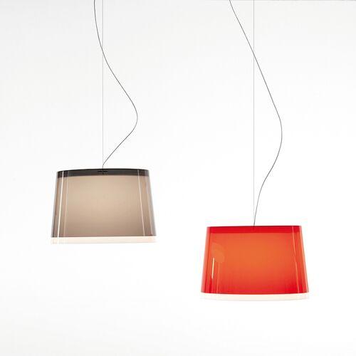 Pedrali L001S/BB Pendelleuchte, Außenschirm rot, Baldachin weiß