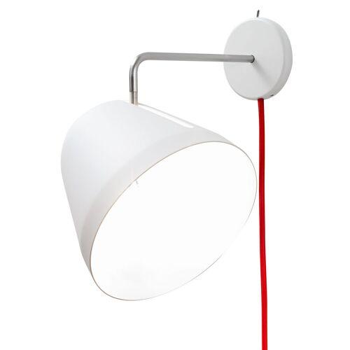 Nyta Tilt Wall mit Kabel, weiss, Wandleuchte, Kabel rot