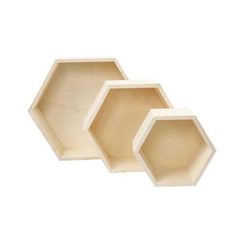 Betzold Holzbox Wabe, 3er Set