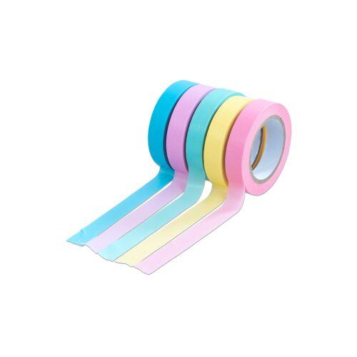 Folia Washi Tape Set aus 5 Rollen, Uni Pastell