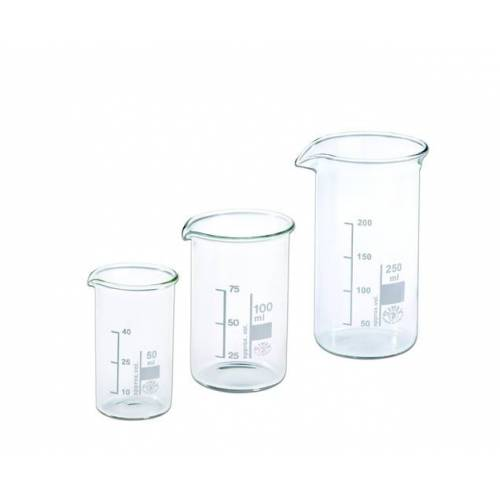 Hecht Assistent Becherglas 100 ml, 3er-Set mit Ausguss und Graduierung