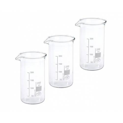 Hecht Assistent Becherglas 250 ml, 3er-Set mit Ausguss und Graduierung
