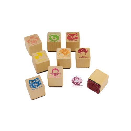 Sunnysue Lehrerstempel aus Holz, 9-teilig
