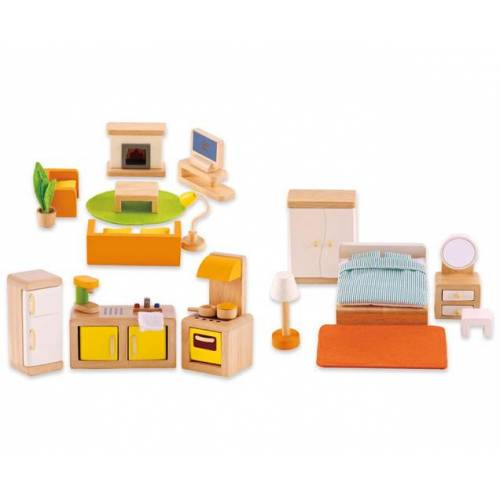 Hape Puppen-Möbel-Set-Grundausstattung, 28-teilig