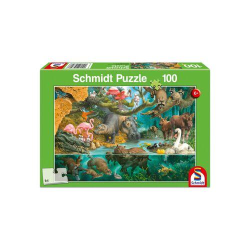 """Schmidt Spiele Puzzle """"Tierfamilien am Ufer"""", 100 Teile"""