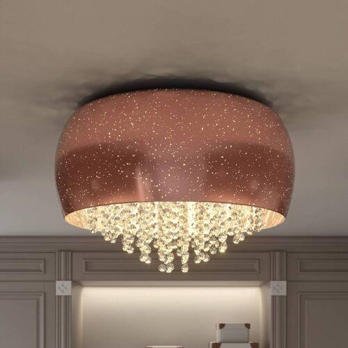 Lucande Elinara Kristall-Deckenlampe, 50 cm kupfer