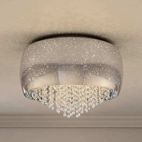 Lucande Elinara Kristall-Deckenlampe, 50 cm chrom