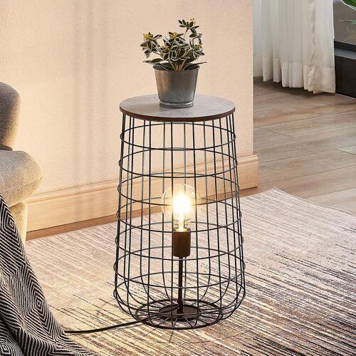 Lindby Winnie Korb-Tischlampe mit Holzplatte