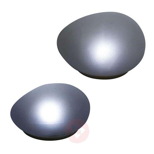 Lindby Pebbla LED-Solar-Dekoleuchten, 2er Set