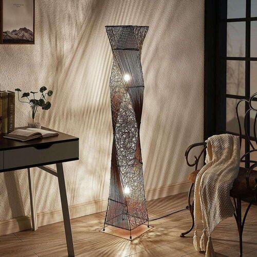 Lampenwelt.com Rattan-Stehlampe Kassia für gemütliches Licht