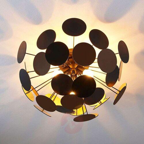 Lindby Schwarz-goldene Deckenlampe Kinan